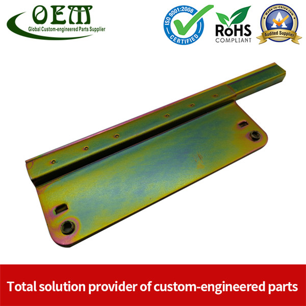 Auto Window Lifter Motor Bracket Galvanized Steel Stamping Metal Parts with Golden Color Zinc Plated And Passivization Finish